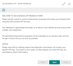 365 business API - Feedback Wizard